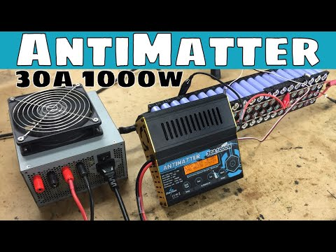 Charsoon Antimatter 30a 1000w Charge Discharger powered by an old computer power supply to lab power