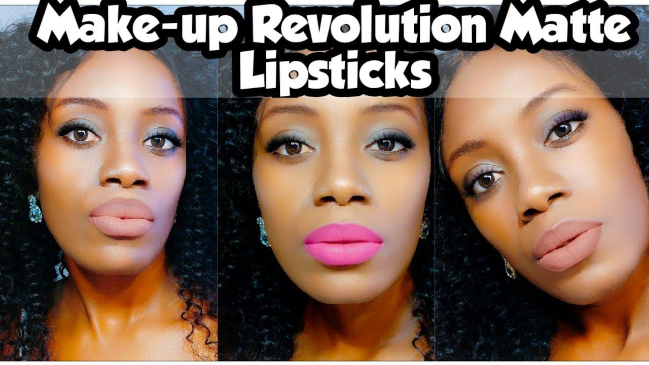 Make-up Revolution Matte Lipsticks Review(Try) On Dark Skin