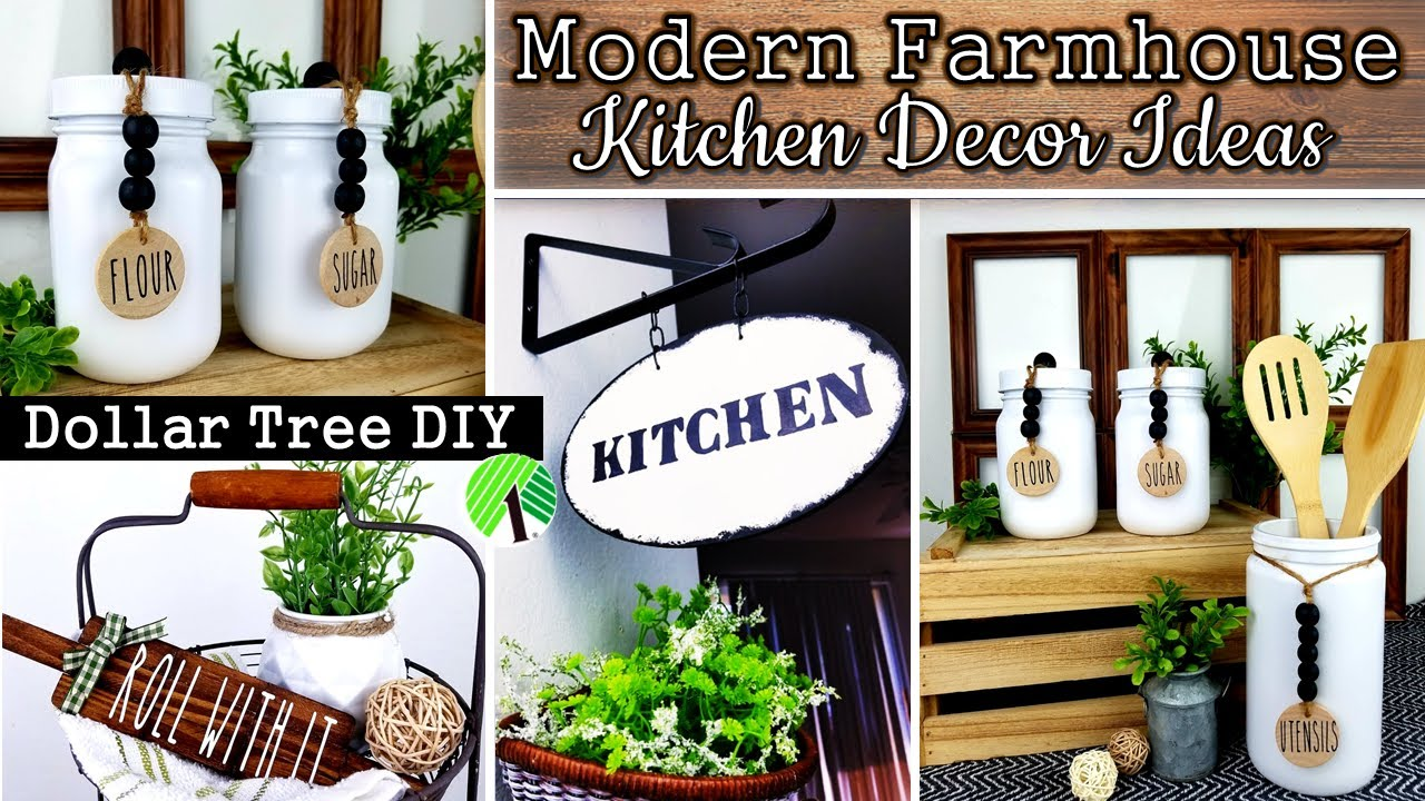 DOLLAR TREE DIY   FARMHOUSE KITCHEN DECOR   DIY HOME DECOR IDEAS 12