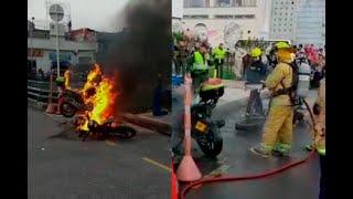 Quemó su moto porque le iban a poner un comparendo y terminó incinerando hasta la de un policía