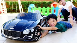 Bentley Power Wheels Car Toy Video for Kids Assembly with Hide and Seek Game Play