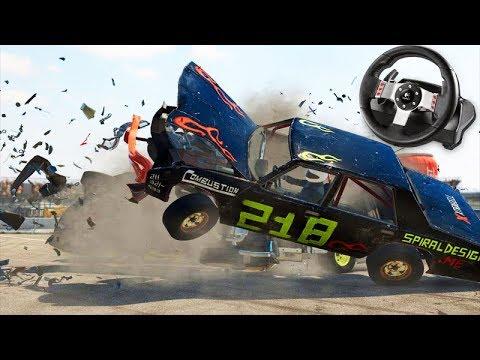 CORRIDA REALISTA com DESTRUIÇÃO!!! - Wreckfest + G27