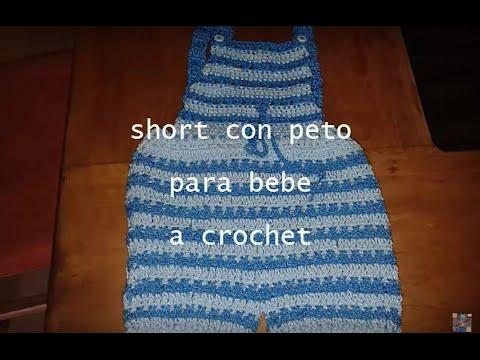 Short con tirantes para bebe a crochet labores ang lika - Labores de crochet para bebes ...
