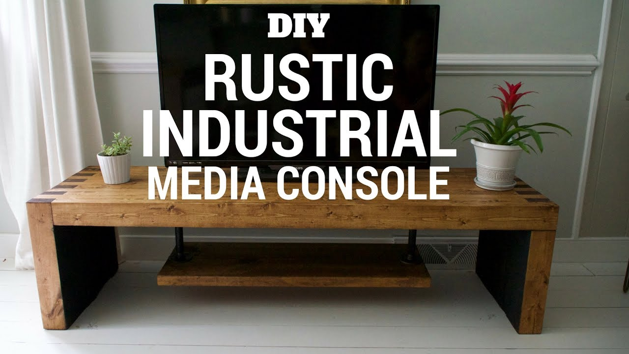 Diy Rustic Industrial Tv Console Youtube
