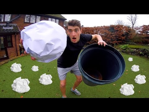 GIANT PAPER TOSS FOOTBALL CHALLENGE!!