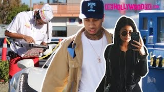 tyga kylie jenner get gas go to in n out burger drive past kendall on the highway 11615