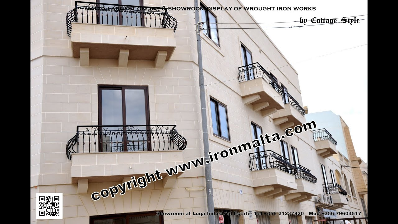 Iron balcony balconies railings art metal works malta for Metal balcony
