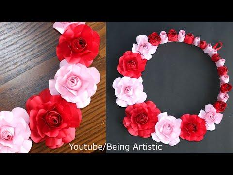 Paper Flower Wall Decoration- Paper Craft - DIY Wall Decor Idea - Paper Rose