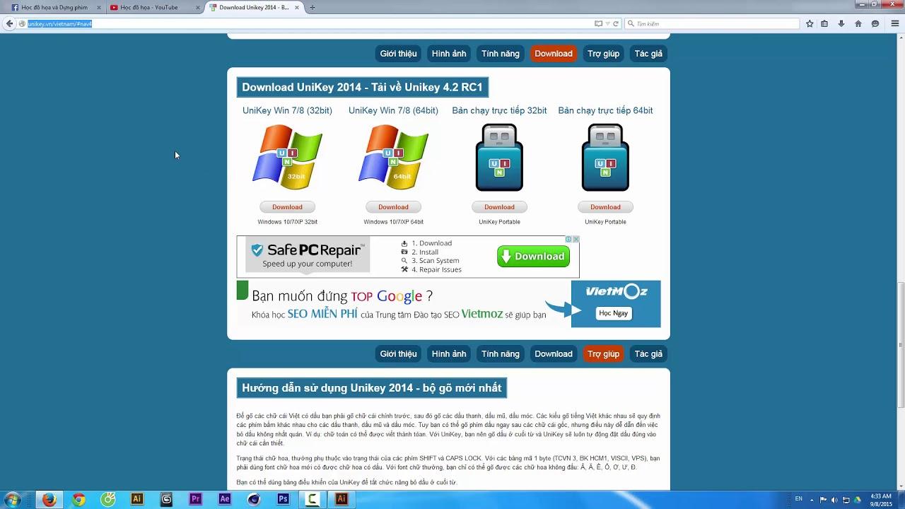 Lỗi gõ tiếng Việt trong phần mềm đồ họa
