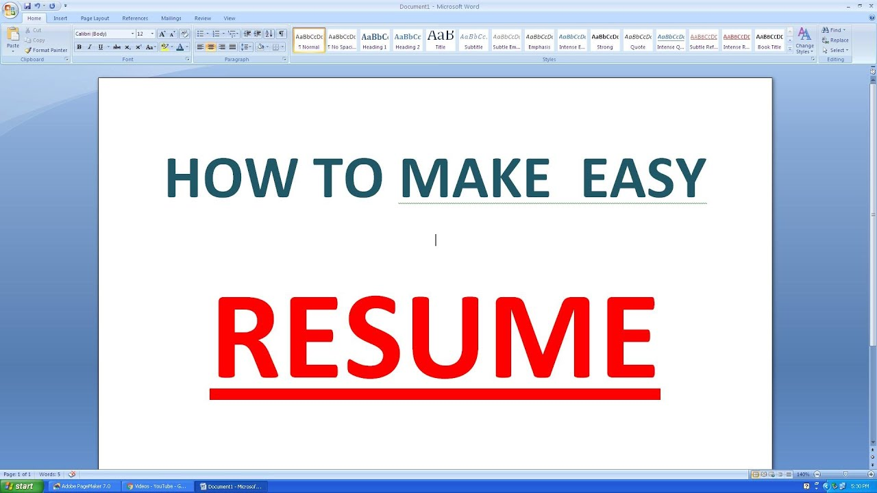 HOW TO MAKE AN SIMPLE RESUME IN MICROSOFT WORD   YouTube  How To Make A Resume On Microsoft Word 2007
