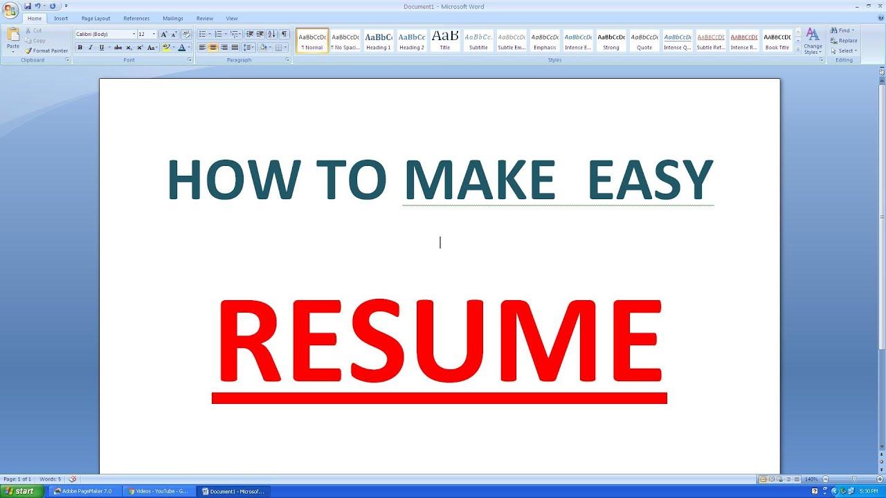 build resume microsoft word