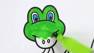 كيفية رسم ثعبان للأطفال تلوين صفحات مع علامات تعلم الرسم