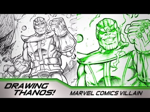 Drawing the Villain Thanos - Marvel Comics Fan Art - Narrated - IPad Pro and Procreate