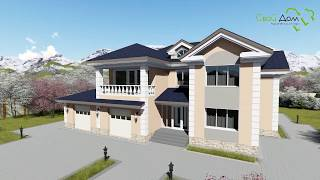 Южная Дакота E-048. Проект двухэтажного дома на 4 спальни, с террасой, на 2 гаража