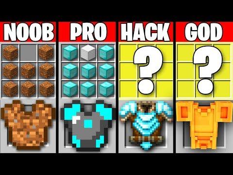 Minecraft Battle: NOOB Vs PRO Vs HACKER Vs GOD : SUPER ARMOR CRAFTING Challenge In Minecraft