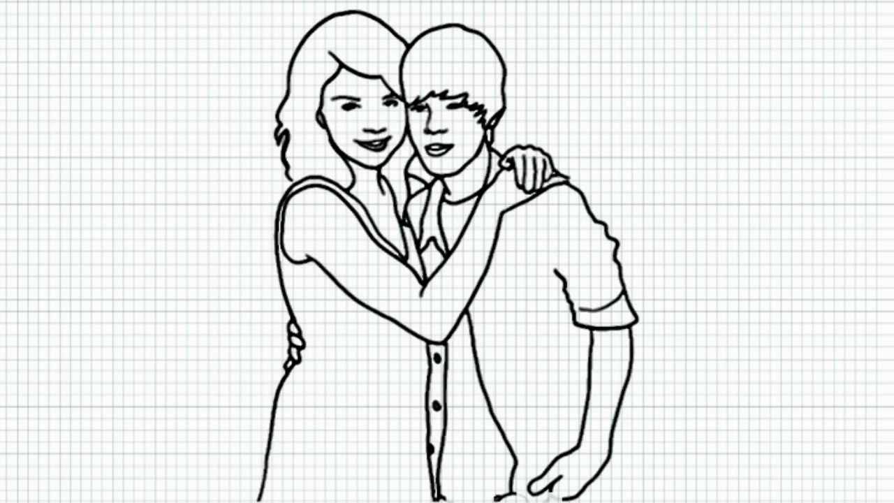 how to draw selena gomez and justin bieber video easy drawing