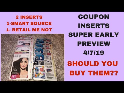 Super Early Coupon Insert Preview Coupons Coming 4/7/19~2 Inserts 1-RMN 1-Smart Source~Pass or Buy?
