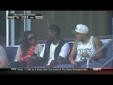 Emmanuel Adebayor watches ex-teammate Henry against the Philadelphia Union