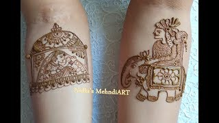 How to Make Groom on Elephant and Bride in Doli for Bridal Mehndi ART