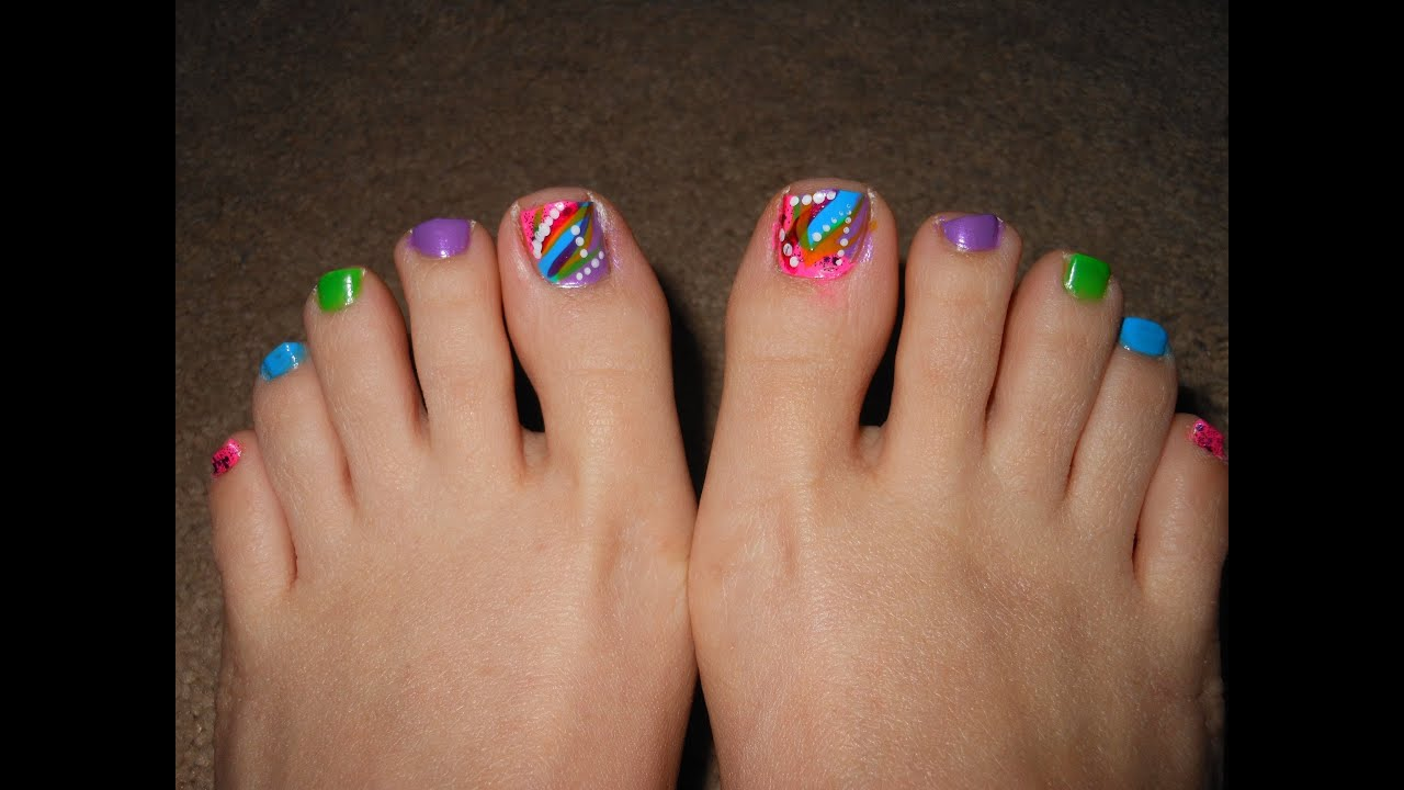 Multicolor abstract toe nails for Spring and Summer - YouTube