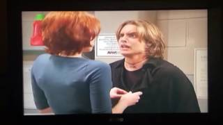 Rachel (Maitland Ward) pretends to seduce Eric in Boy Meets World in Laundry Room