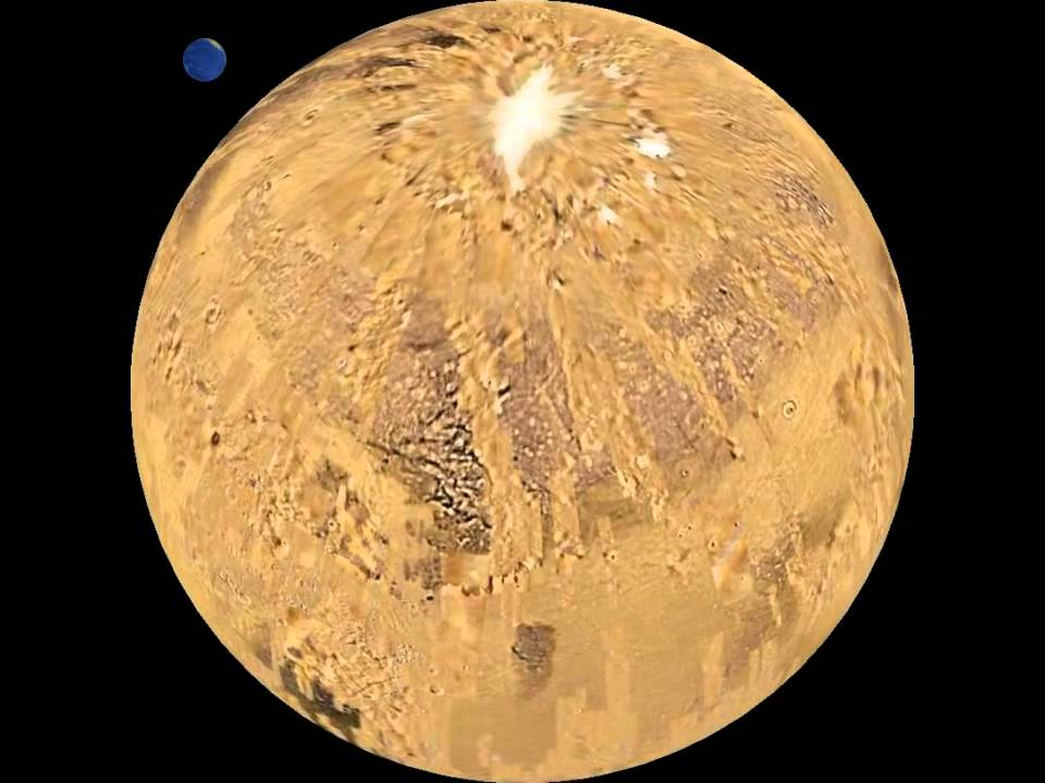 Planet Mars globe animation view from 60° North, rotation ...