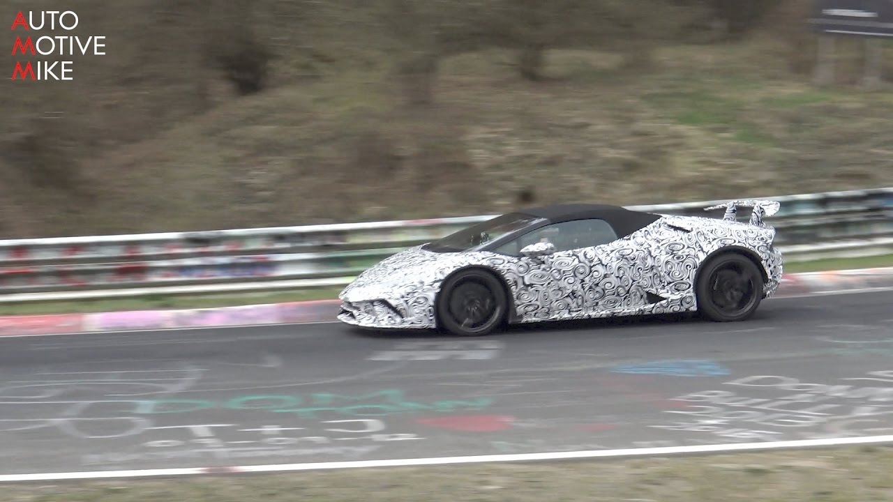 2018 lamborghini spyder. Perfect 2018 2018 Lamborghini Huracan Performante Spyder Spied Testing At The Nrburgring In Lamborghini Spyder
