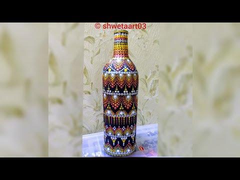 Dot painting on glass bottle |#40| |Dot mandala| |full video tutorial by  shwetaart03|