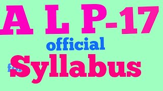 QUESTION PATTERN AND SYLLABUS DETAILS OF ALP recruitment