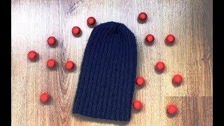 мК Мужская шапка бини спицами. Вяжется очень просто. 2-й способ закрытия макушки