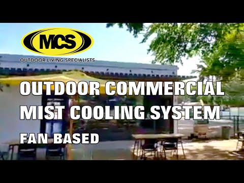 Outdoor commercial fan-based mist cooling system