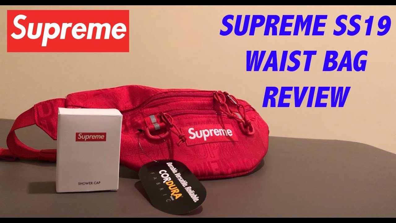 9d4b2cc3a95f Supreme SS19 Waist Bag Red Review + Shower Cap - YouTube