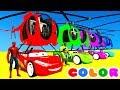 Color MCQUEEN Helicopter & Spiderman Cars Cartoon W Bus Superheroes For Kids And Babies