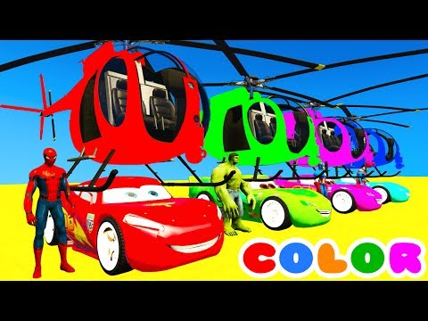 Thumbnail: Color MCQUEEN Helicopter & Spiderman Cars Cartoon w Bus Superheroes for kids and babies