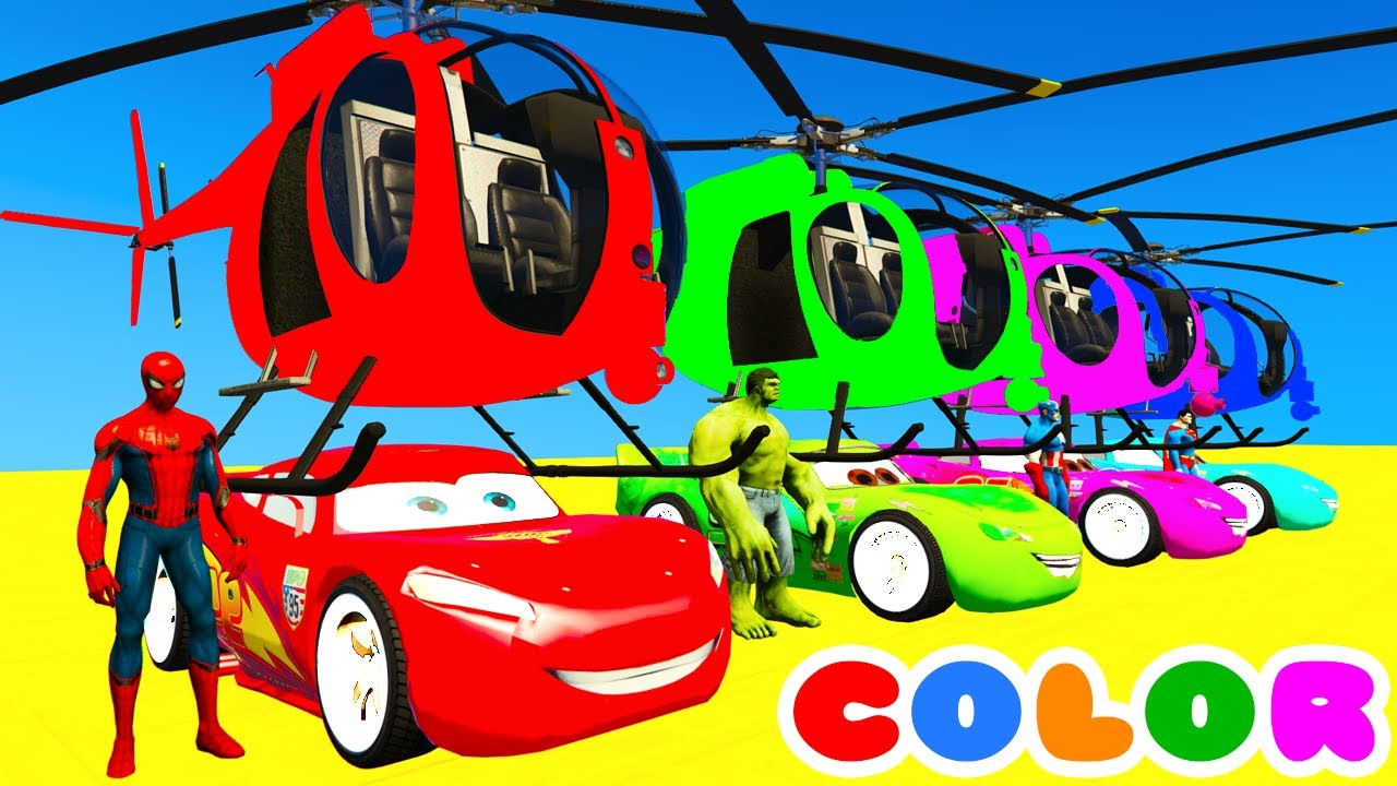 Color Mcqueen Helicopter Spiderman Cars Cartoon W Bus Superheroes