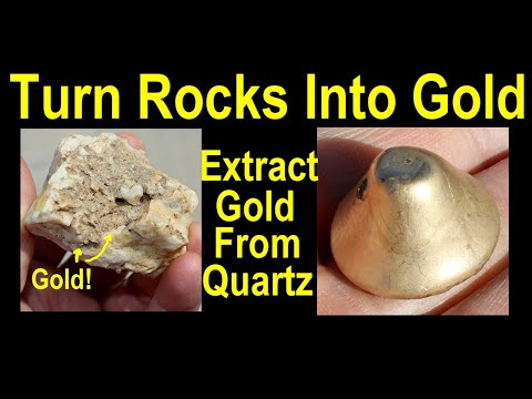 Crushing gold ore to make gold and then cash in - pour big gold from metal detecting rich gold ore