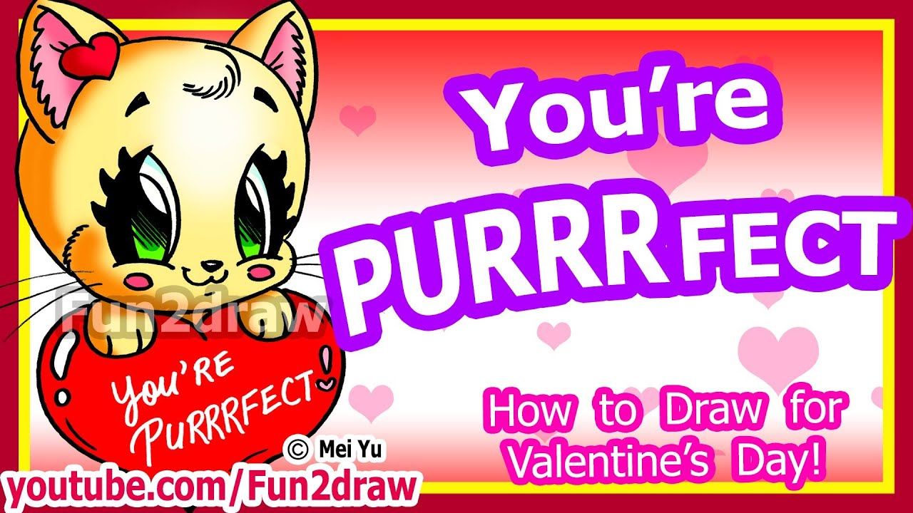 How to Draw a Heart Cat for Love Valentines Cute Easy Art – Youtube Valentines Day Cards
