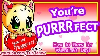 How to Draw a Heart & Cat for Love + Valentine