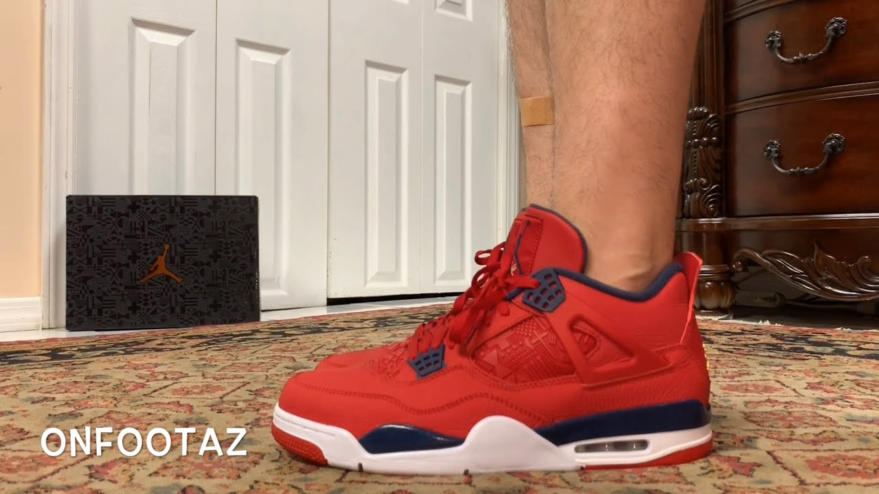 best service 2f49f 5154c Air Jordan 4 IV FIBA Gym Red On Foot