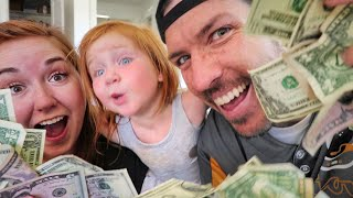 BEST DAY EVER 1000 - The Family Surprises People with $1,000  (Adley learns to help others)