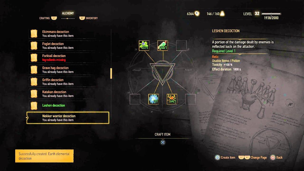 The Witcher 3 - Enhanced Thunderbolt, Northern Wind, Arachnas, Earth  Elemental, Leshen Decoction