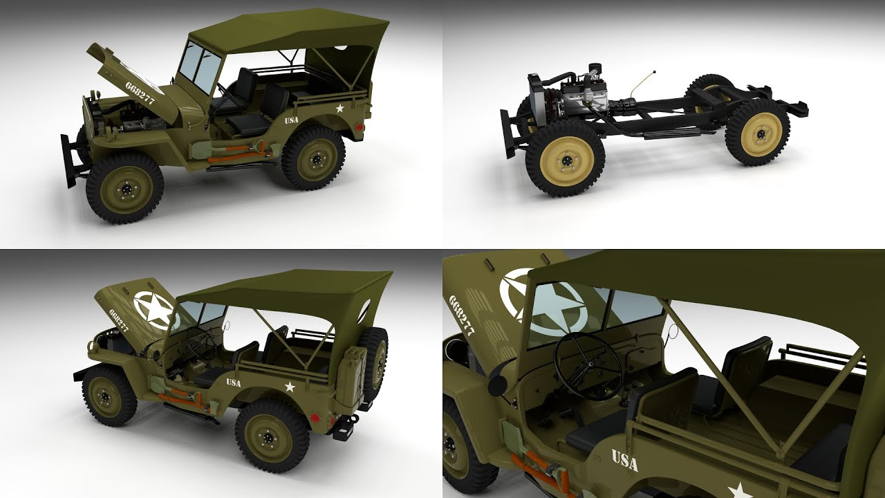 Favori Full w chassis Jeep Willys MB Military Top 3D Model - YouTube HB51