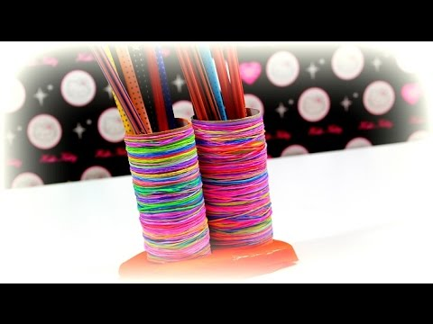diy ideen loom bands play doh stiftebox selber basteln hobby selber machen tutorial. Black Bedroom Furniture Sets. Home Design Ideas