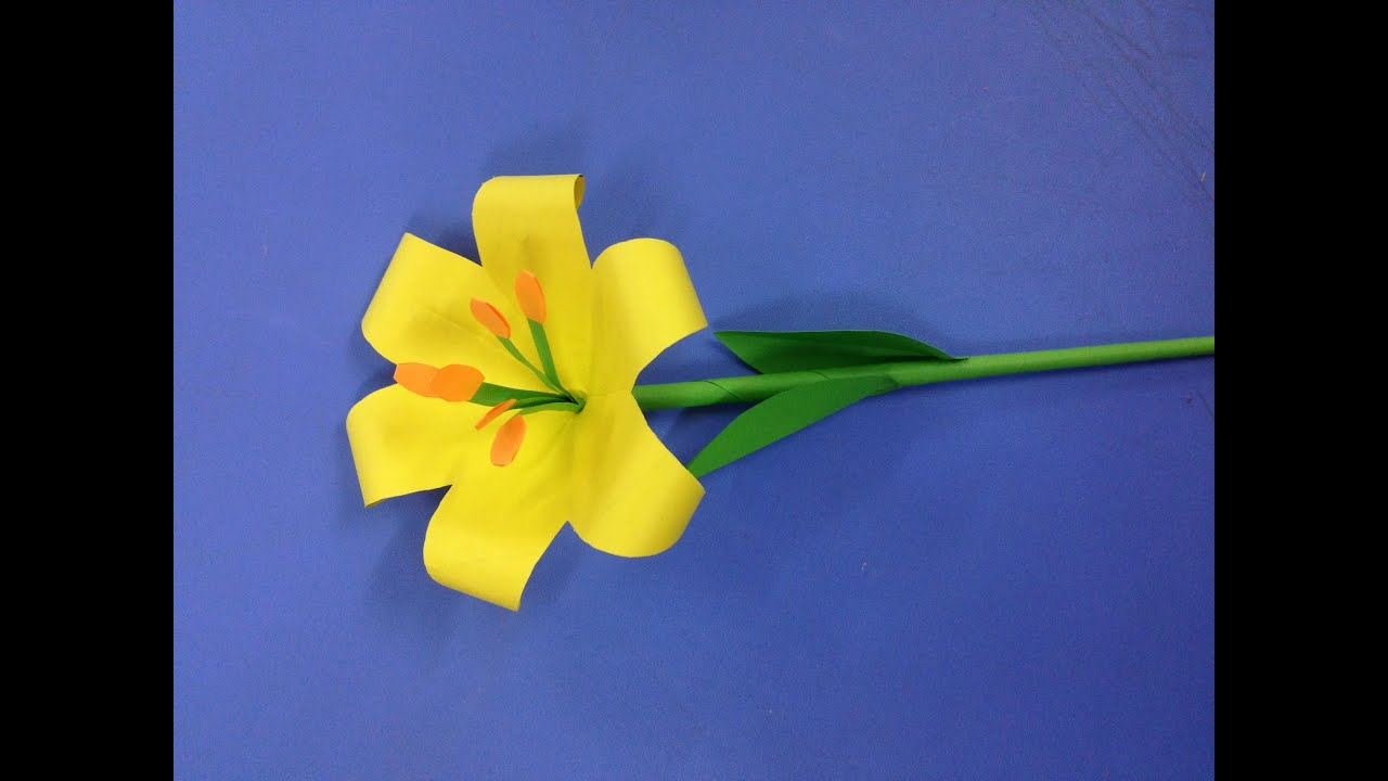 How to make lily paper flower easy origami flowers for beginners how to make lily paper flower easy origami flowers for beginners making diy paper crafts youtube mightylinksfo