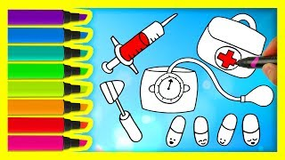 How to Draw Medical Doctor Kit for Kids | Coloring Pages Medicines | Art Colors with Colored Markers