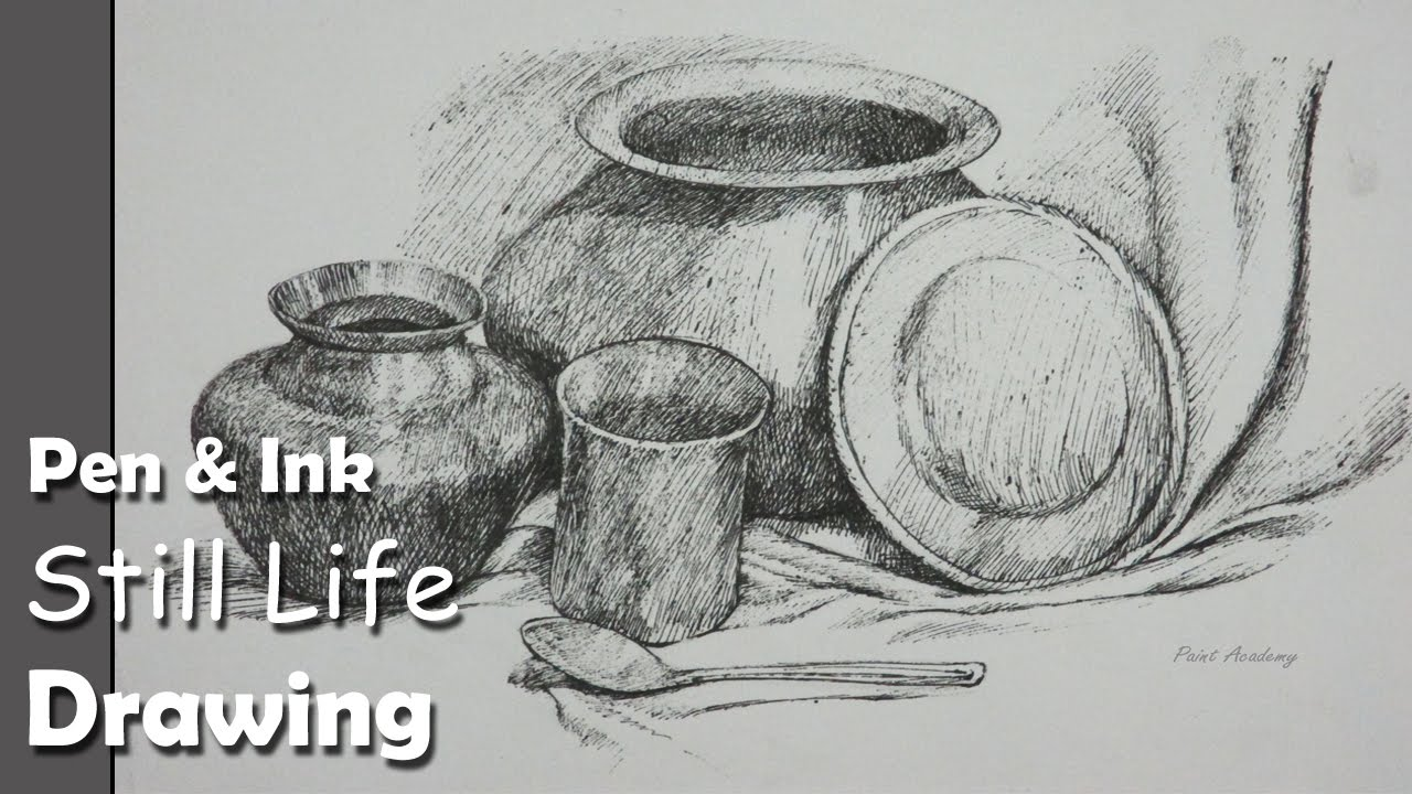 how to draw a still life drawing utensils dishes step by step
