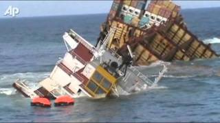 Wrecked Cargo Ship Sinking in New Zealand