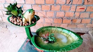 Make your own frog sitting on a leaf spraying water | How to make a fountain of cement and sand