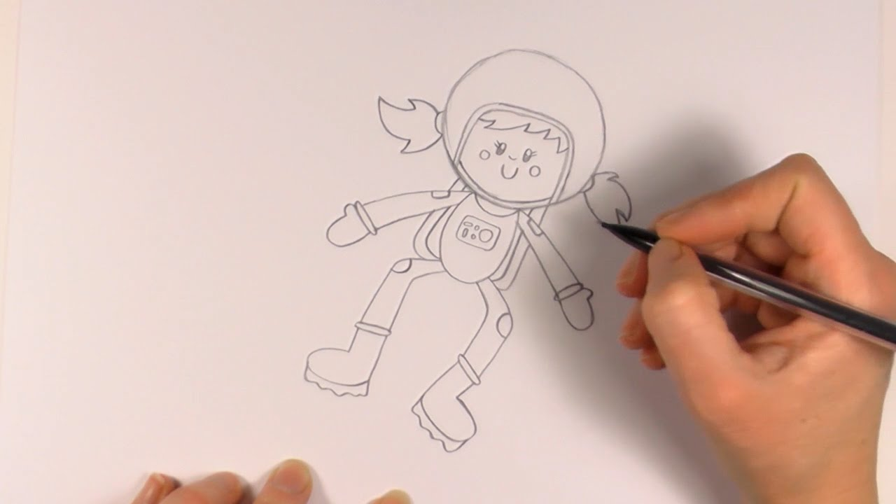 R E A P How To Draw A Cartoon Astronaut Girl Youtube
