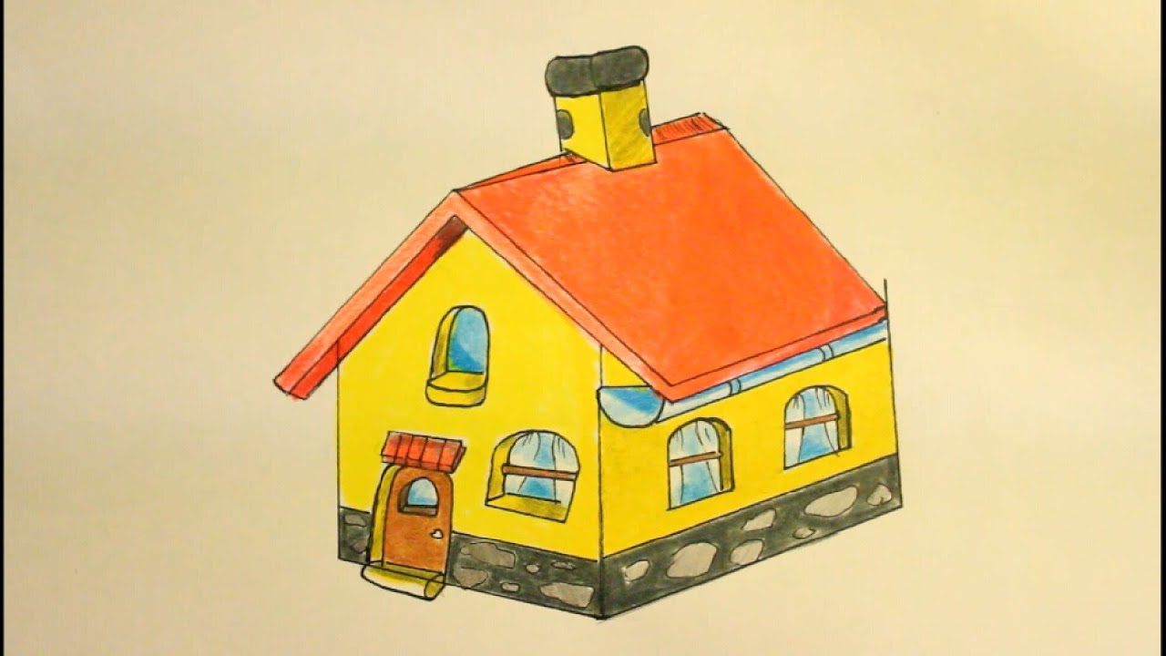 How to draw a house in 3d kids beginners easy step by step 2 point perspective with pencil 3d house drawing